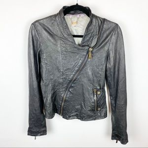 Doma Leather Moto Jacket Asymmetrical Zip